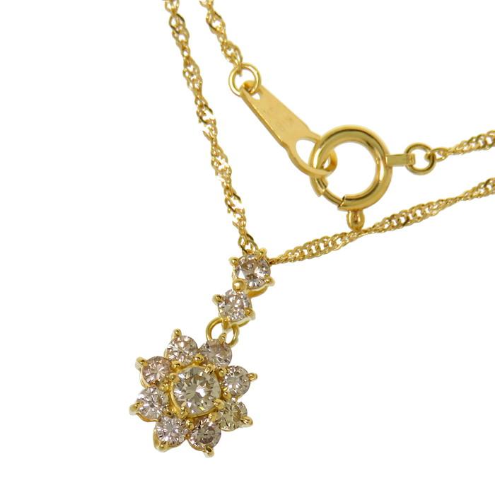 花/フラワー ダイヤモンド 計0.54ct ネックレス K18ゴールド 18金 2.4g 40cm レディース【中古】【真子質店】【ITx】【pdpd】