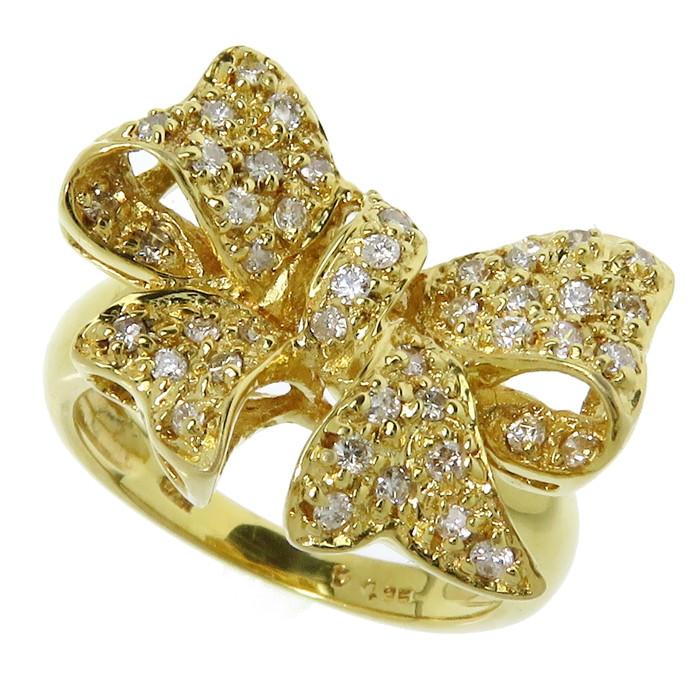 9号 リボンモチーフ ダイヤモンド 計0.35ct リング・指輪 K18ゴールド 18金 5.6g レディース【中古】【真子質店】【TYx】