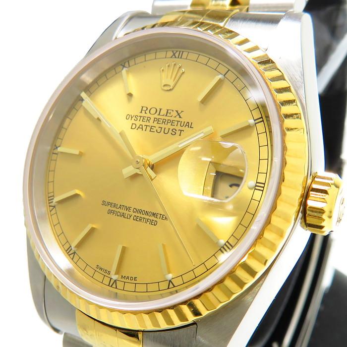 【ROLEX/ロレックス】 デイトジャスト 16233 腕時計 ステンレススチール/YGイエローゴールド 自動巻き/オートマ Y番 推定2002年頃製造 ゴールド文字盤 メンズ【中古】【真子質店】【MaMaxx】