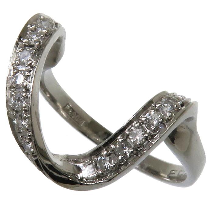 11号 U字型 ダイヤモンド 計0.17ct リング・指輪 Pt900プラチナ 4.2g レディース【中古】【真子質店】【IIx】