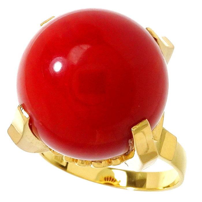 13号 赤珊瑚14mm リング・指輪 K18ゴールド 18金 8.8g レディース【中古】【真子質店】【YSx】【pdpd】