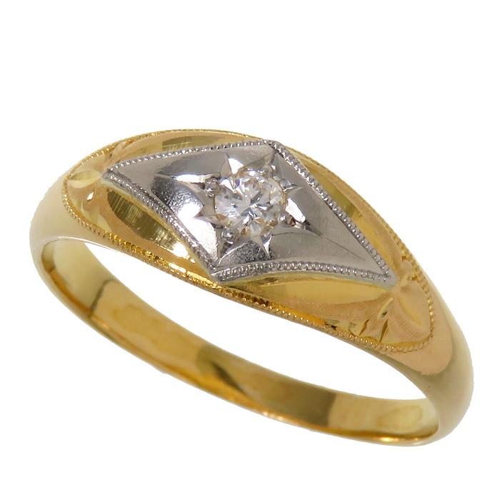 17号 コンビカラー ダイヤモンド リング・指輪 K18ゴールド 18金/Pm 3.8g レディース【中古】【真子質店】【IMox】【pdpd】