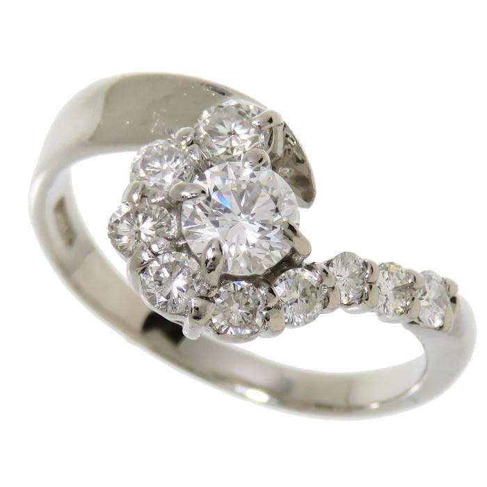 17.5号 ダイヤモンド 計0.431ct リング・指輪 Pt900プラチナ 5.1g レディース【中古】【真子質店】【Maxx】