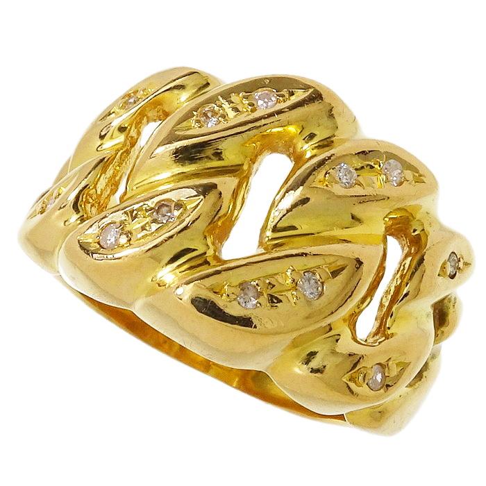 13号 クサリ風デザイン ダイヤモンド リング・指輪 K18ゴールド 18金 6.3g レディース【中古】【真子質店】【MaIS】【pdpd】