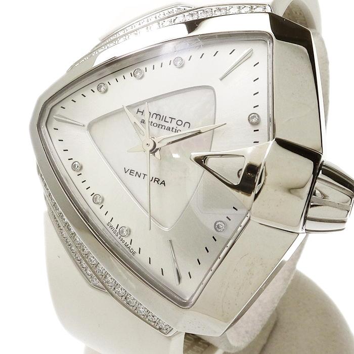 【HAMILTON/ハミルトン】 ベンチュラ H24255359 888本限定モデル 9Pダイヤベゼル 腕時計 ステンレススチール/ホワイトシェル/ラバー 自動巻き/オートマ メンズ【中古】【真子質店】【Kxx】【pdpd】