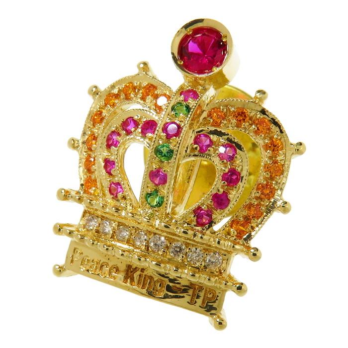 【Peace King -TP(詳細不明) 】 王冠/クラウン マルチ石 ダイヤモンド ブローチ K18ゴールド 18金 4.8g ユニセックス【中古】【真子質店】【TMaI】