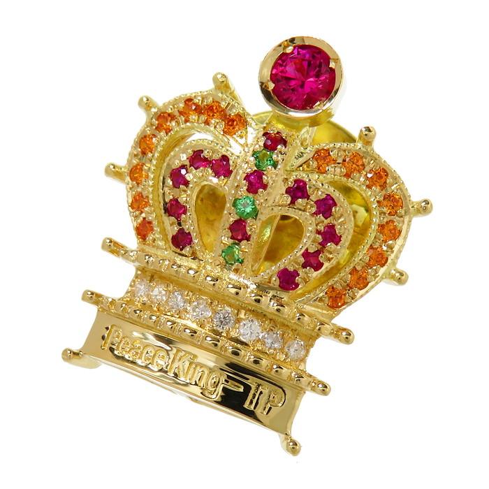 【Peace King -TP(詳細不明) 】 王冠/クラウン マルチ石 ダイヤモンド ブローチ K18ゴールド 18金 4.2g ユニセックス【中古】【真子質店】【TTx】