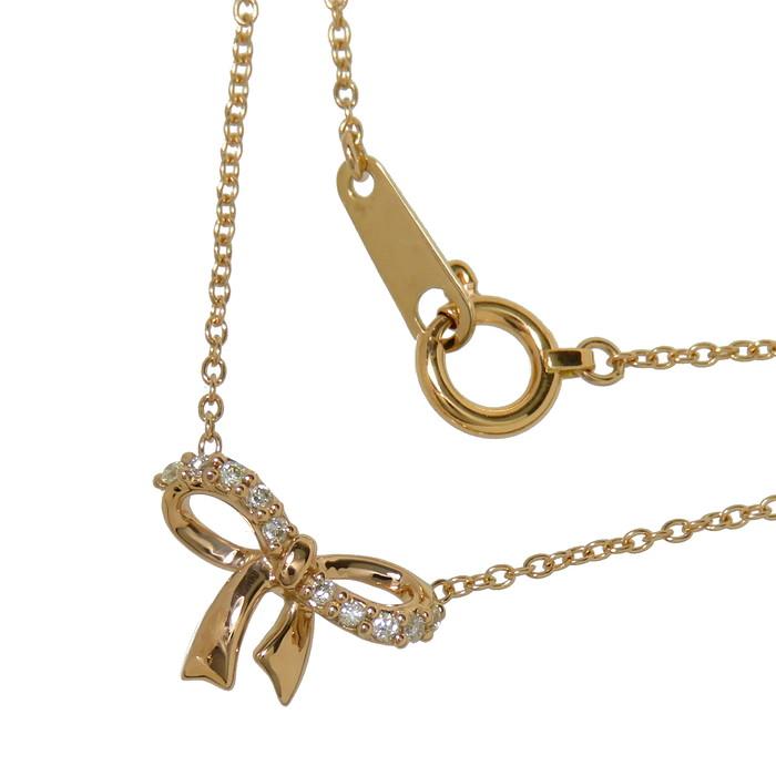 リボン ダイヤモンド ネックレス K18PGピンクゴールド 18金 1.6g 41cm レディース【中古】【真子質店】【MiMi】