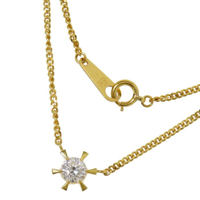 ダイヤモンド 0.38ct ネックレス K18ゴールド 18金 4.0g 直線42cm レディース【中古】【真子質店】【MaSx】