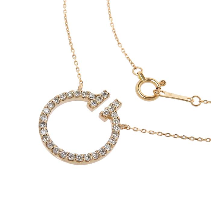輪っか型デザイン ダイヤモンド 計0.30ct ネックレス K18PGピンクゴールド 18金 2.2g 41cm レディース【中古】【真子質店】【TDT】