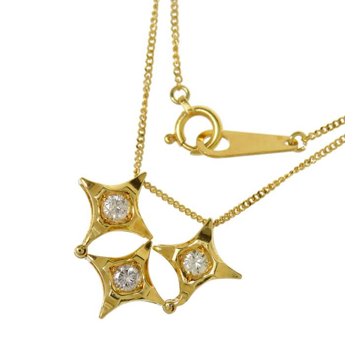 2WAY ダイヤモンド 計0.20ct ネックレス K18ゴールド 18金 2.9g 40cm レディース【中古】【真子質店】【IDx】