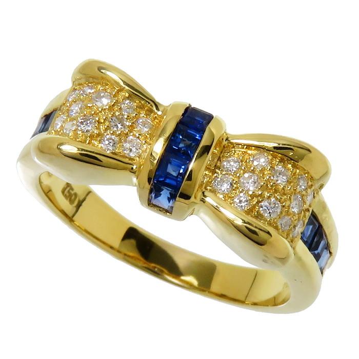 16号 リボン サファイア 計0 74ct ダイヤモンド 計0 14ct リング・指輪 K18ゴールド 18金 6 0g レディース 真子質店MaxMiCoQredxWB