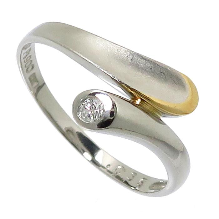 13.5号 ダイヤモンド 0.035ct リング・指輪 Pt900プラチナ/K18ゴールド 18金 2.5g レディース【中古】【真子質店】【KMo】
