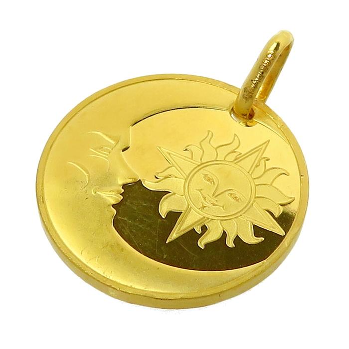 太陽と月 ペンダントトップ K24ゴールド 24金(純金) 5.2g レディース【中古】【真子質店】【TMix】