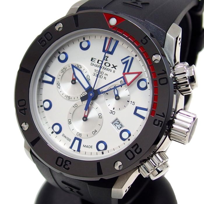 【EDOX/エドックス】 クロノオフショア1 シャークマン2 10234 腕時計 ステンレススチール/ラバー クオーツ メンズ【中古】【真子質店】【MoMiMa】