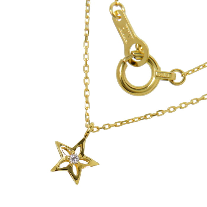 スター/星 ダイヤモンド ネックレス K18ゴールド 18金 0.8g 40cm レディース【中古】【真子質店】【MaMi】