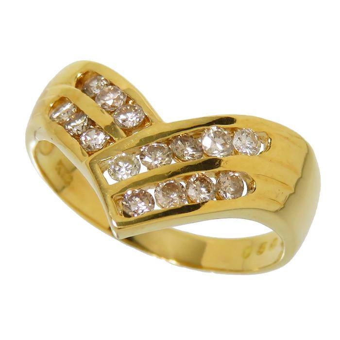 15号 V字 ダイヤモンド 計0.50ct リング・指輪 K18ゴールド 18金 3.6g レディース【中古】【真子質店】【MaDMa】【pdpd】