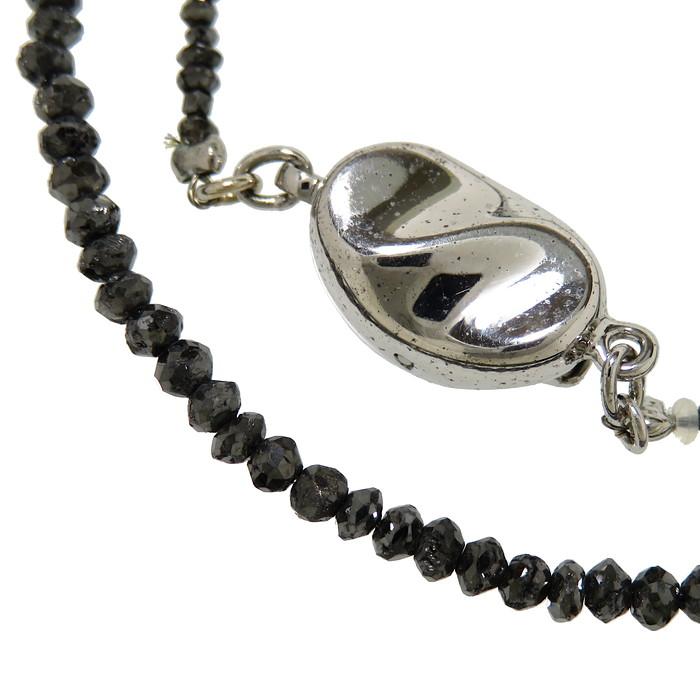 ブラック ダイヤモンド ネックレス シルバー 4.1g 37.5cm レディース【中古】【真子質店】【ITMi】【pdpd】