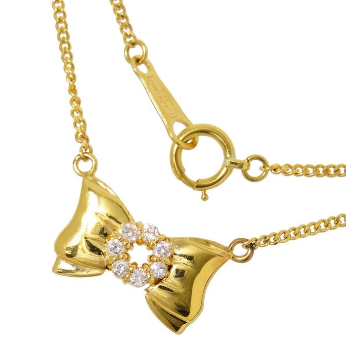 リボン ダイヤモンド 計0.12ct ネックレス K18ゴールド 18金 3.7g 直線43cm レディース【中古】【真子質店】【TIS】【pdpd】