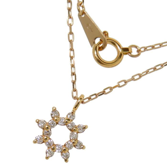 ダイヤモンド ネックレス K18PGピンクゴールド 18金 2.0g 43cm レディース【中古】【真子質店】【IDMi】【pdpd】