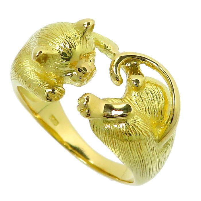 13号 猫モチーフ リング・指輪 K18ゴールド 18金 6.2g レディース【中古】【真子質店】【MaIS】