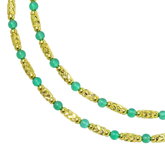 緑石 ネックレス K18YGイエローゴールド 18金 6.5g 47cm レディース【中古】【真子質店】【TYD】