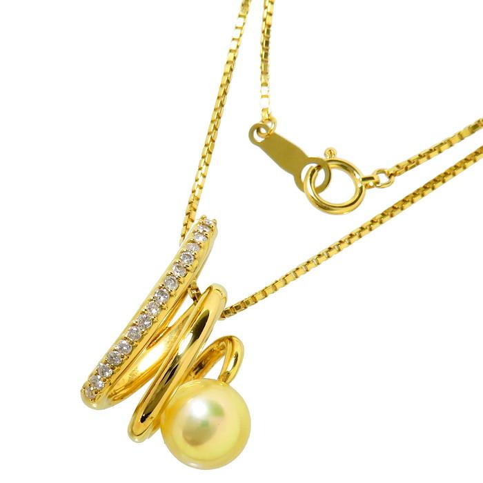 アコヤ真珠 約7.9mm程度 ダイヤモンド 計0.18ct ネックレス K18ゴールド 18金 7.5g 41cm レディース【中古】【真子質店】【Maxx】
