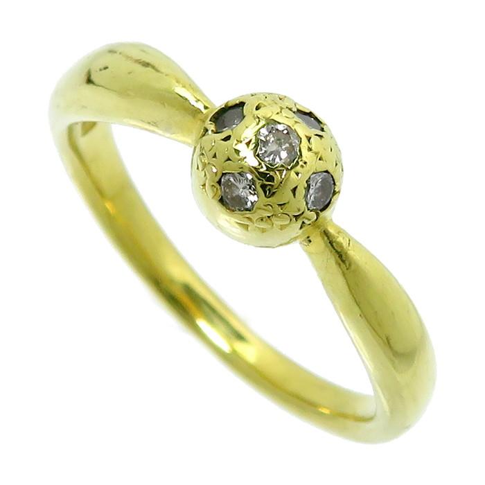 11.5号 ダイヤモンド 計0.12ct リング・指輪 K18ゴールド 18金 4.1g レディース【中古】【真子質店】【ISMi】