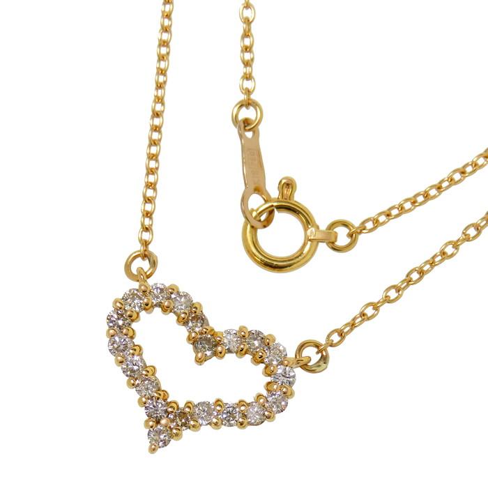 オープン ハート ダイヤモンド 計0.30ct ネックレス K18ゴールド 18金 2.7g 42cm レディース【中古】【真子質店】【IMoMi】