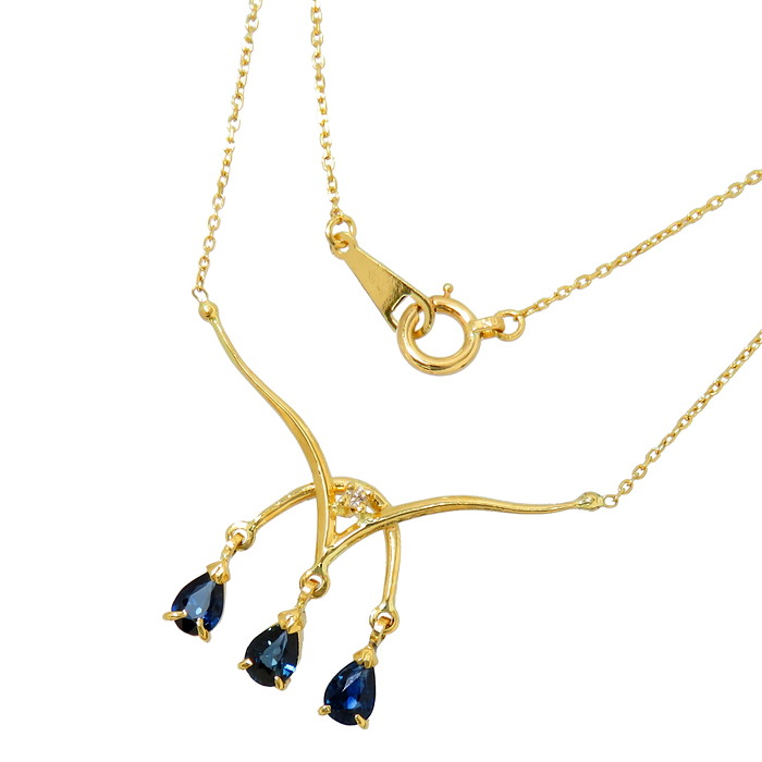 3P サファイア ダイヤモンド ネックレス K18ゴールド 18金 1.8g 直線38cm レディース【中古】【真子質店】【IIx】