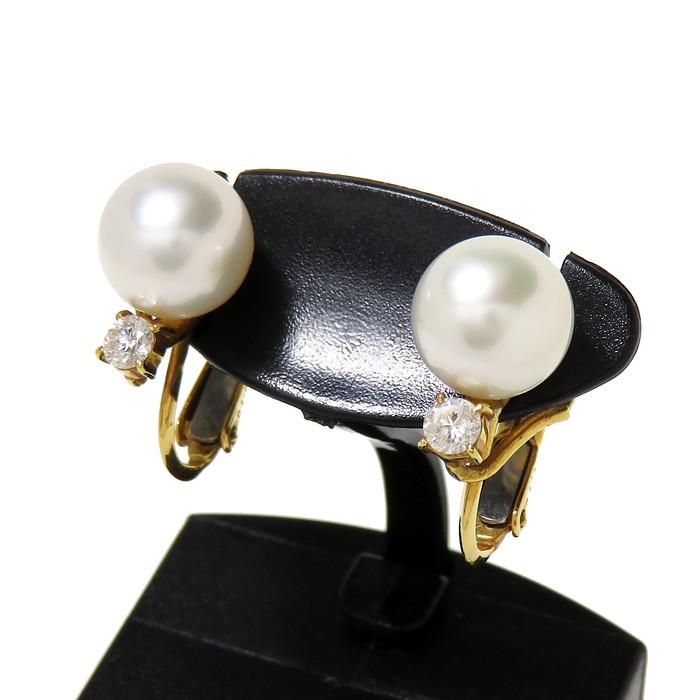 ネジバネ式 アコヤ真珠 ダイヤモンド 0.10×2ct イヤリング K18ゴールド 18金 計4.0g レディース【中古】【真子質店】【IDMi】