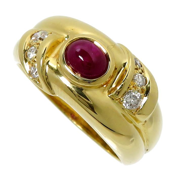 16号 ルビー 0.50ct ダイヤモンド 計0.17ct リング・指輪 K18ゴールド 18金 7.0g レディース【中古】【真子質店】【Maxx】