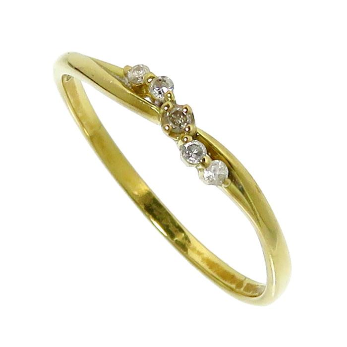 15号 ダイヤモンド 計0.05ct リング・指輪 K18ゴールド 18金 1.3g レディース【中古】【真子質店】【MoY】