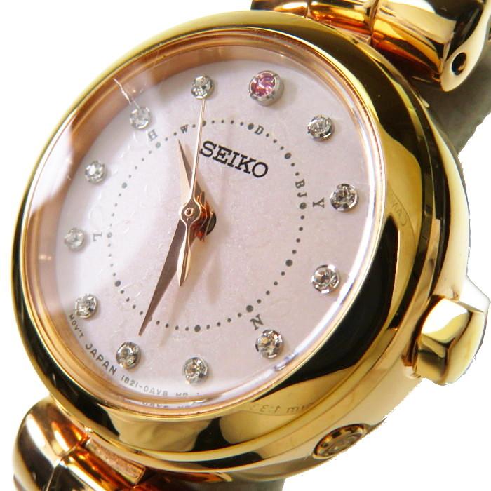 【SEIKO/セイコー】 ティセ 1B21-0AK0 25mm 腕時計 GP/レザーベルト ソーラー電波 ピンク文字盤 レディース【中古】【真子質店】【YK】