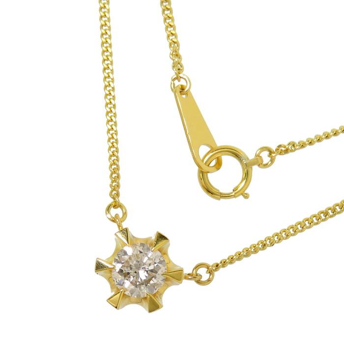 一粒ジュエリー ダイヤモンド 0.81ct ネックレス K18ゴールド 18金 4.5g 直線42cm レディース【中古】【真子質店】【Yxx】