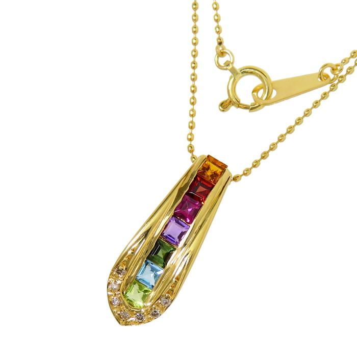 アミュレット マルチ石 ダイヤモンド ネックレス K18ゴールド 18金 3.3g 40.5cm レディース【中古】【真子質店】【IMax】