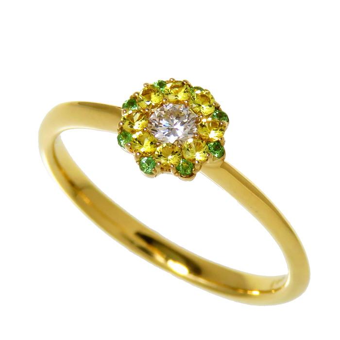 キラキラ フラワーモチーフリング 10.5号 スーパーSALE セール期間限定 花 フラワー ダイヤモンド 0.09ct 色石 計0.10 計0.03ct IKx K18ゴールド 真子質店 リング 2.0g セール商品 レディース 18金 指輪 中古