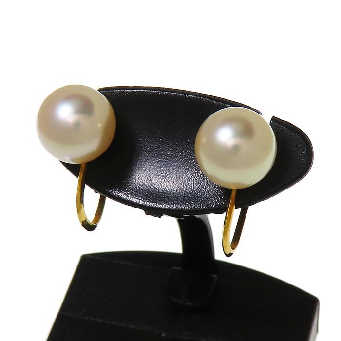 一粒 アコヤ真珠 約8.0mm程度 イヤリング K18ゴールド 18金 計2.4g レディース【中古】【真子質店】【Max】