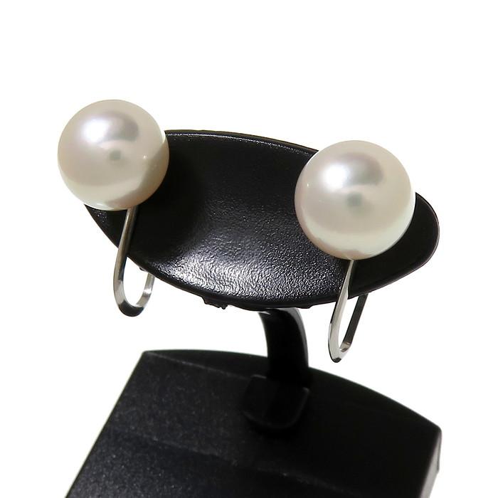 一粒 アコヤ真珠 約8.3mm程度 イヤリング Pt900プラチナ 計2.7g レディース【中古】【真子質店】【Max】