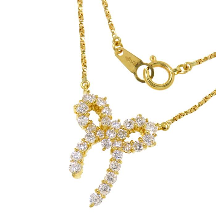 リボン ダイヤモンド 計1.02ct ネックレス K18ゴールド 18金 5.6g 直線42cm レディース【中古】【真子質店】【MoMaS】