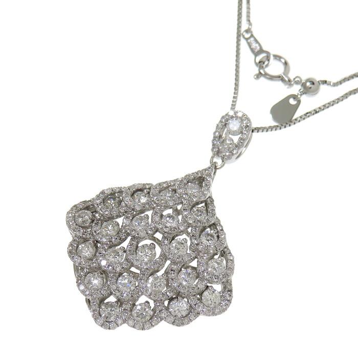 ダイヤモンド 計2.50ct ネックレス K18WGホワイトゴールド 18金 9.5g 45cm レディース【中古】【真子質店】【IIMoMo】