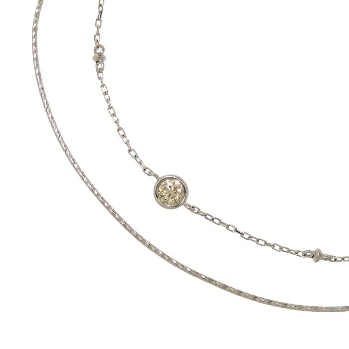 2連風 一粒 ダイヤモンド 0.10ct ブレスレット K18WGホワイトゴールド 18金 1.3g 20cm レディース【中古】【真子質店】【SS】