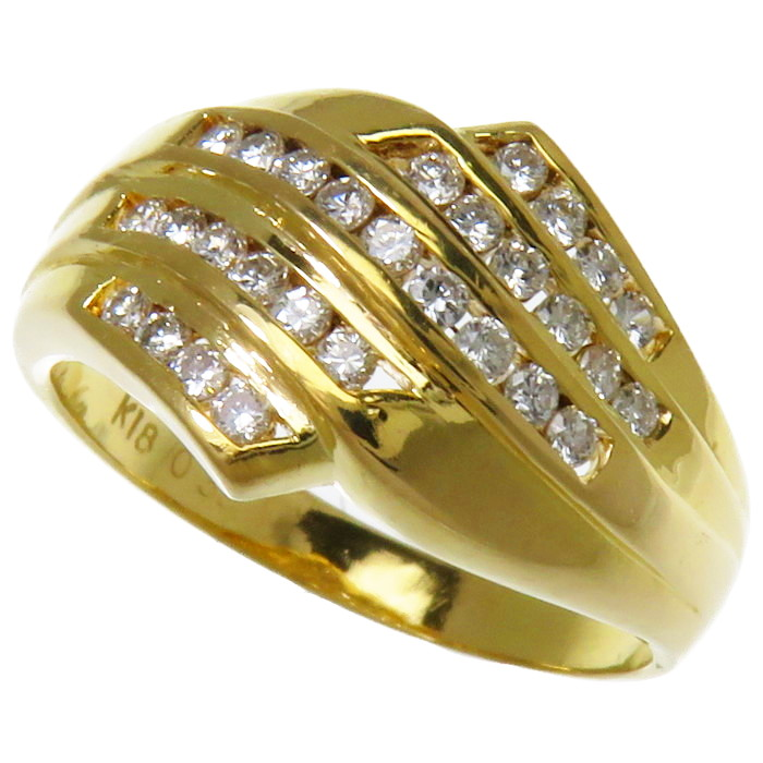 16号 ダイヤモンド 計0.35ct リング・指輪 K18ゴールド 18金 5.3g レディース【中古】【真子質店】【TMox】