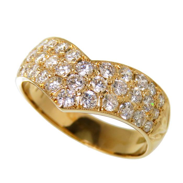 8号 V字 ダイヤモンド 計0.71ct リング・指輪 K18ゴールド 18金 3.5g レディース【中古】【真子質店】【TMix】