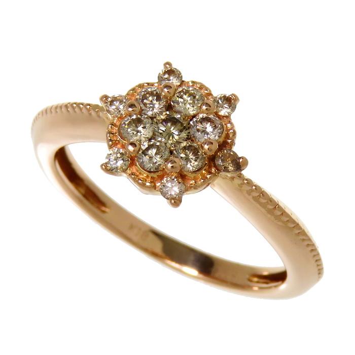 11号 ダイヤモンド 計0.32ct リング・指輪 K18PGピンクゴールド 18金 3.3g レディース【中古】【真子質店】【IKY】
