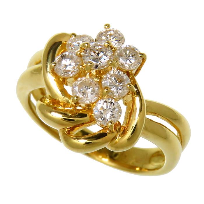 5号 花/フラワーピンキー ダイヤモンド 計0.52ct リング・指輪 K18ゴールド 18金 4.2g レディース【中古】【真子質店】【TMoMi】