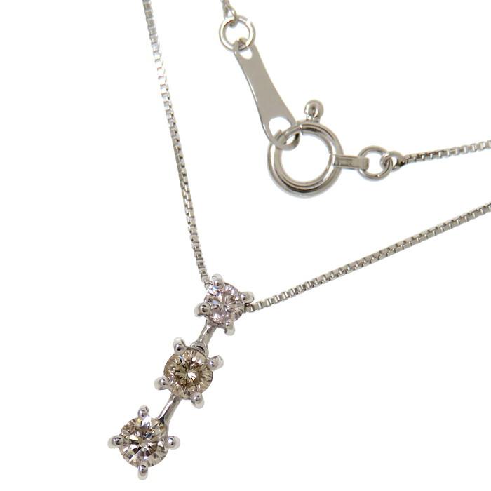トリロジー 3P ダイヤモンド 計0.30ct ネックレス K18WGホワイトゴールド 18金 1.8g 40cm レディース【中古】【真子質店】【IMaK】