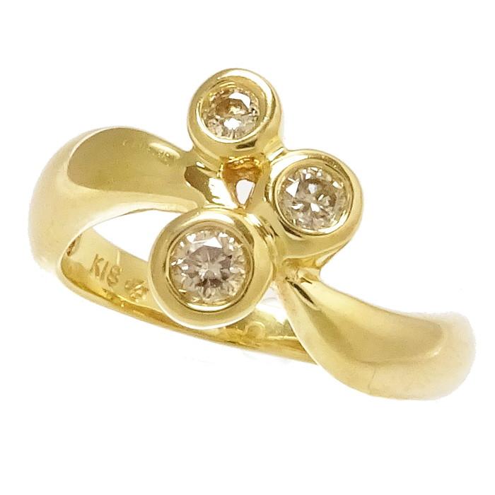 11.5号 3P ダイヤモンド 0.20ct リング・指輪 K18ゴールド 18金 4.8g レディース【中古】【真子質店】【TIx】