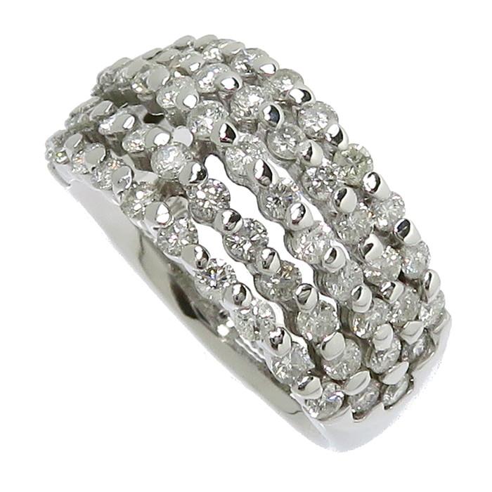 12号 ダイヤモンド 計1.67ct リング・指輪 K14WGホワイトゴールド 14金 7.0g レディース【中古】【真子質店】【DMax】