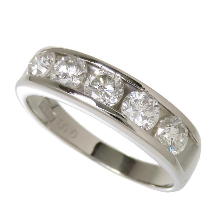 11.5号 5P ダイヤモンド 計1.00ct リング・指輪 Pt900プラチナ 4.5g レディース【中古】【真子質店】【TMox】